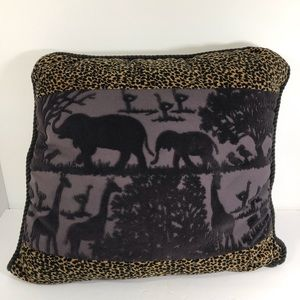 Newport jungle scene pillow cheetah and purple